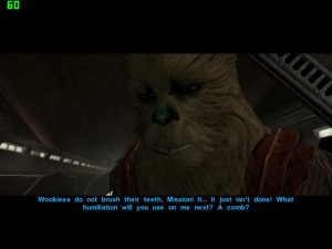 Zaalbaar explaining wookiee hygene to Mission Vao. KOTOR