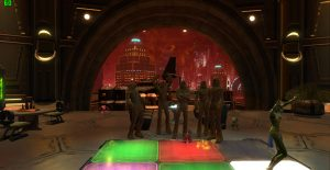 Wookiee costumes in Nar Shaddaa Adiakyths casino for Peter Mayhew tribute, swtor