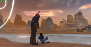 Bowdaa and a Cathar smuggler hang out at swtorista's stronghold on Rish during Peter Mayhew tribute.SWTOR